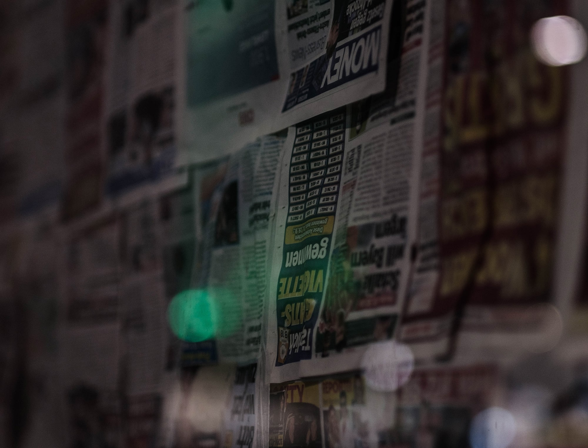 Newspapers on the wall