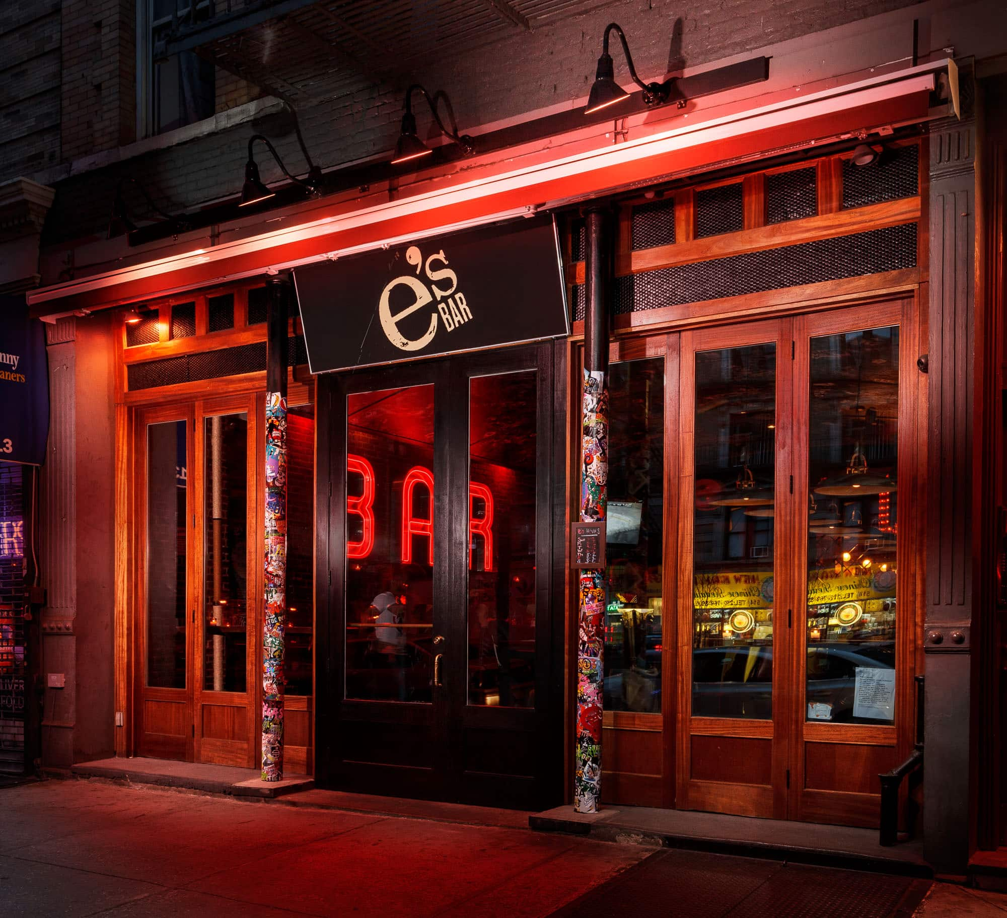 Exterior photo of e's BAR UWS on Amsterdam Ave between 84th and 85th in New York City