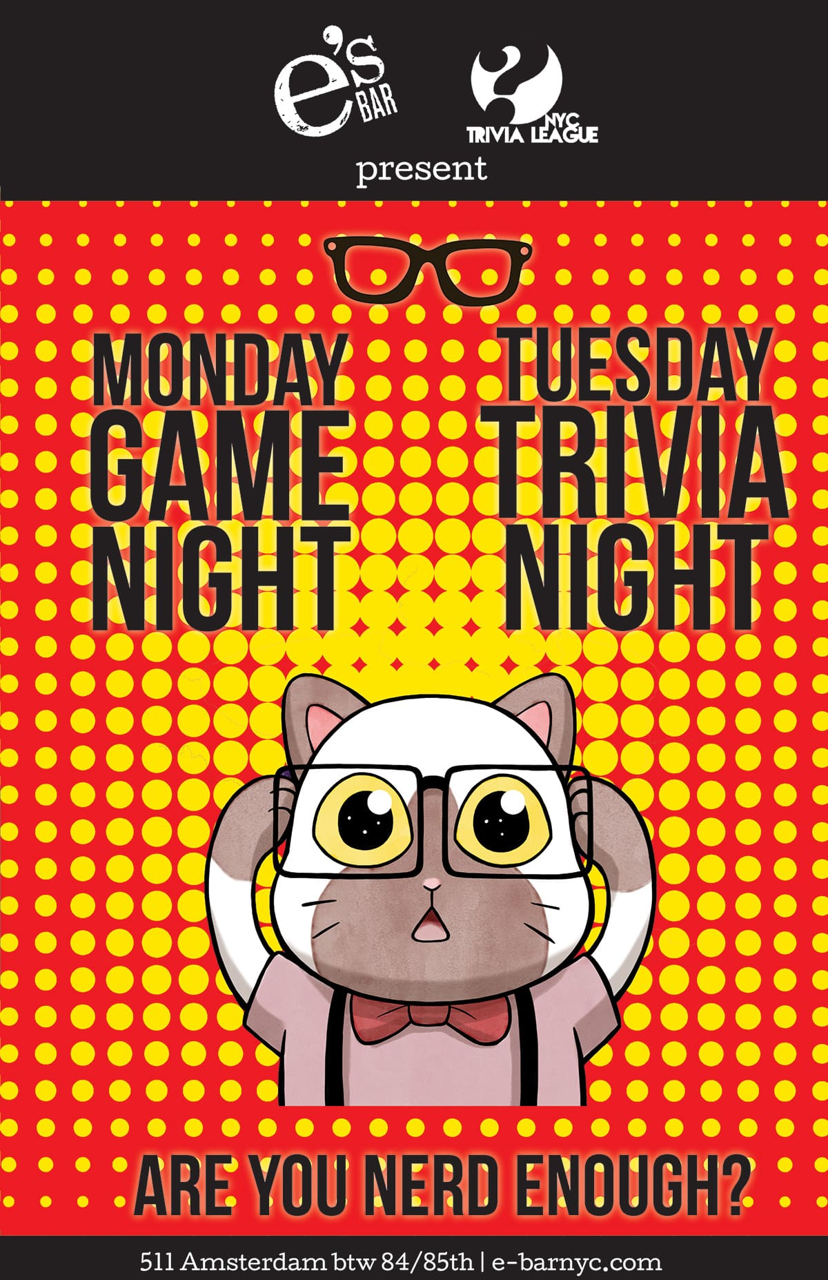 e's BAR Game Night Poster with the Nerd Cat