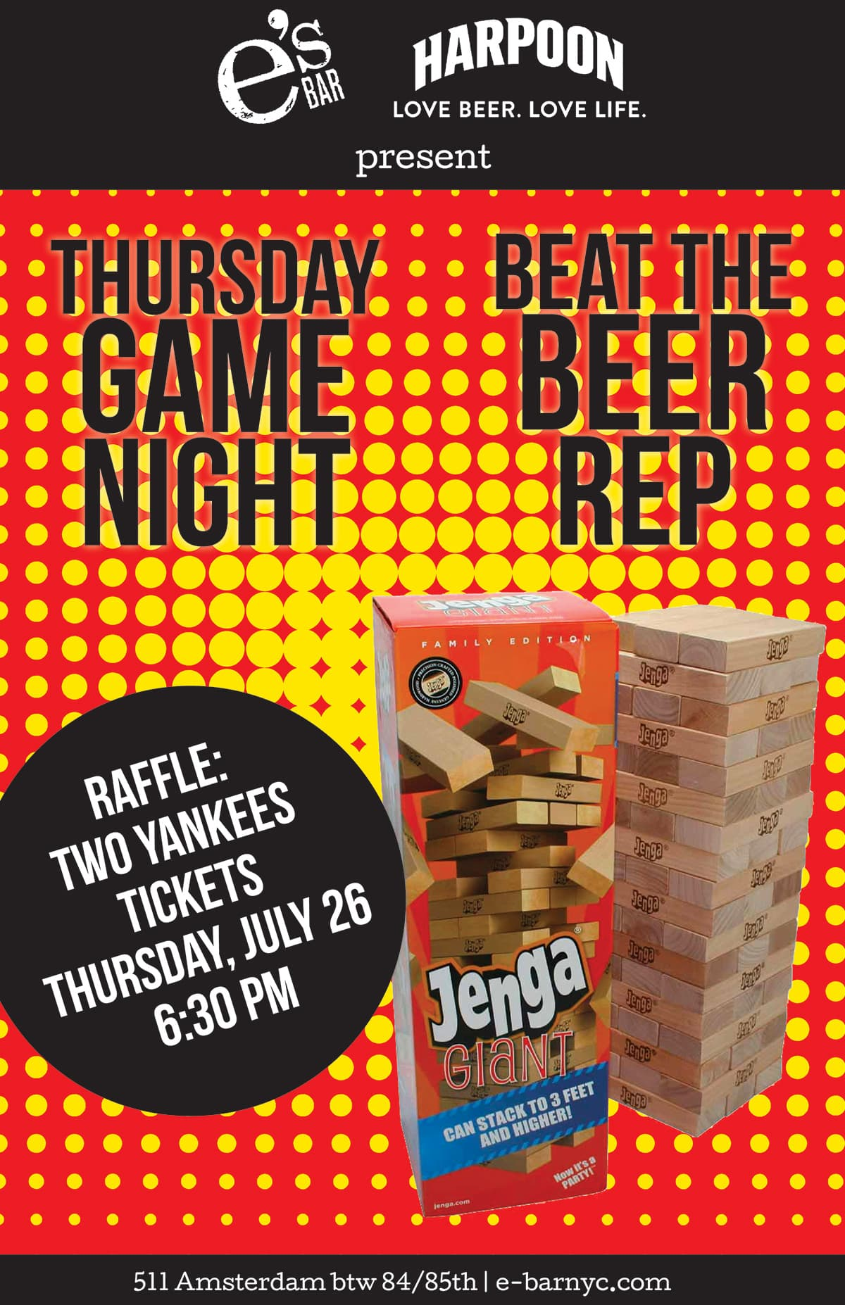 e's BAR Game Night Poster - Beer Rep Jenga