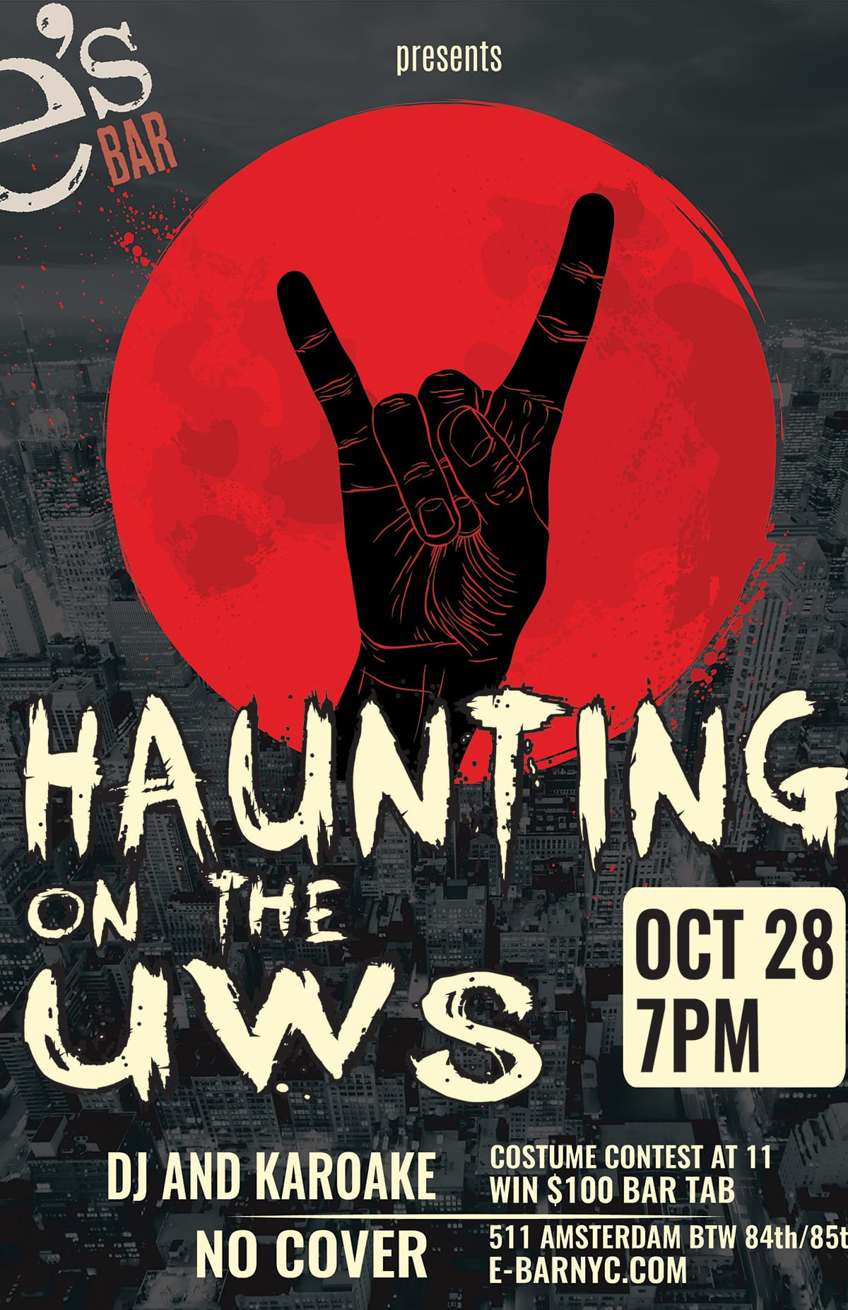 e's BAR Halloween Poster - A Haunting on the UWS