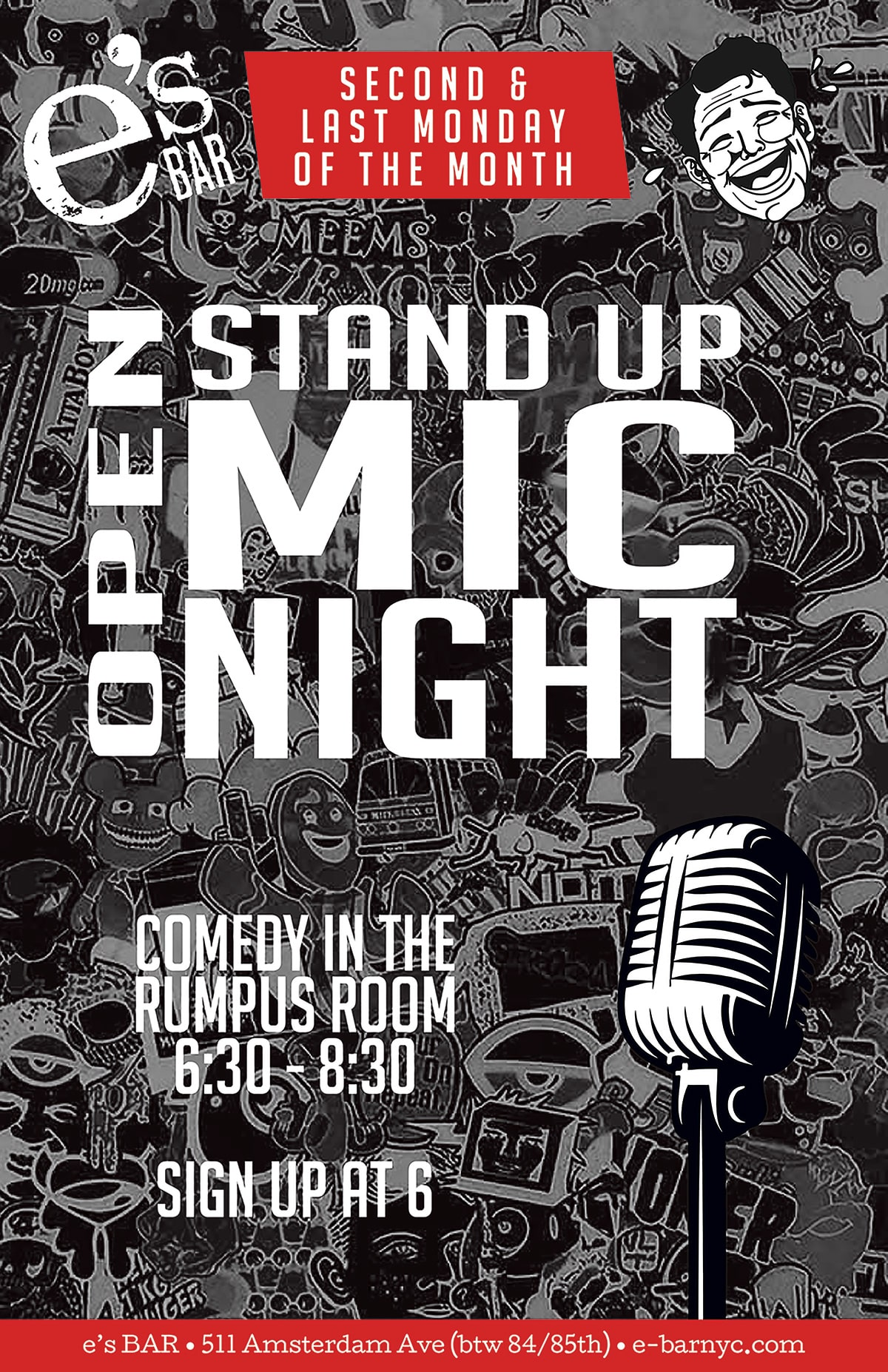 Open Mic Comedy at e's BAR poster