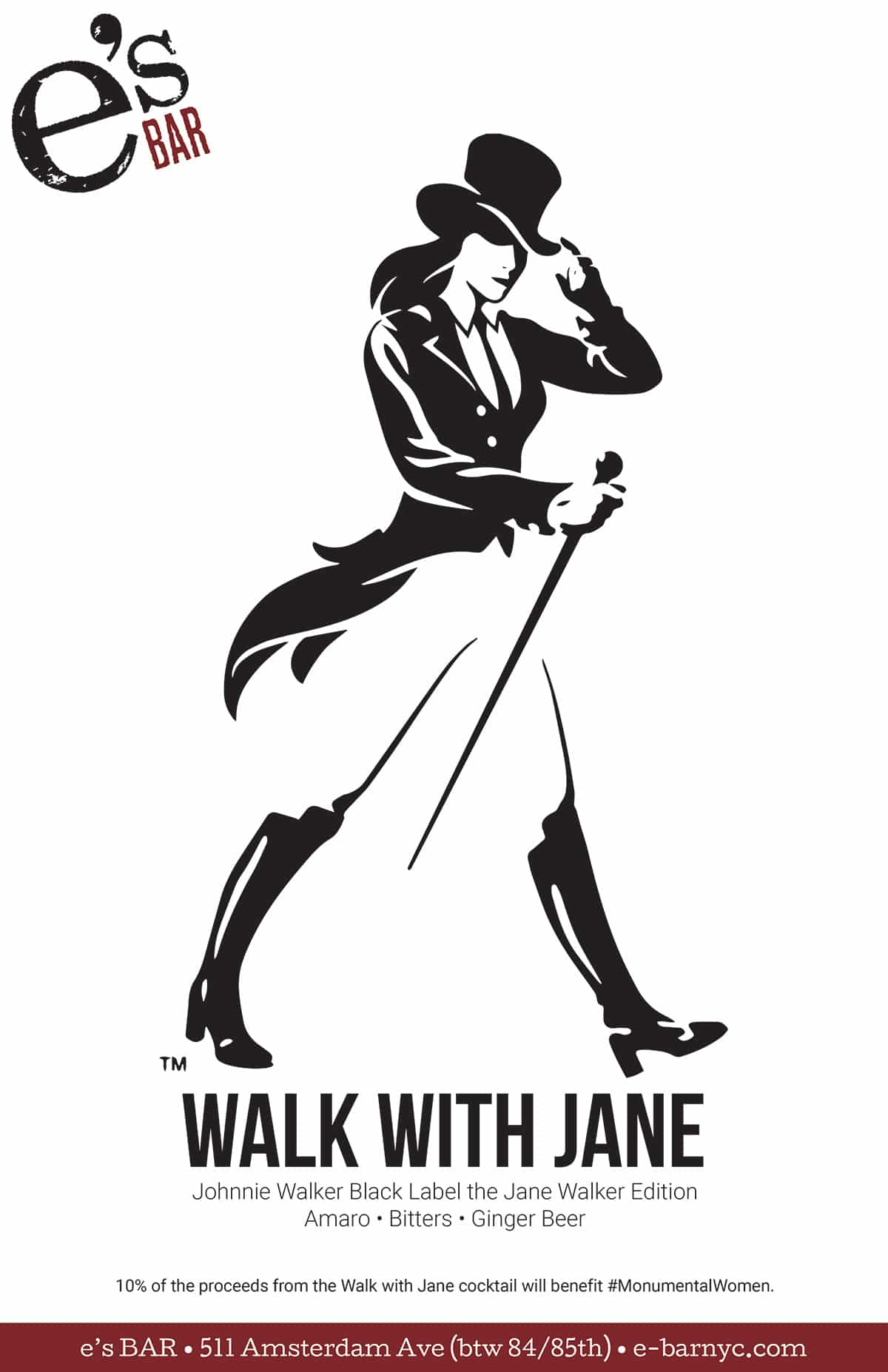 Walk with Jane poster for e's BAR Promotion