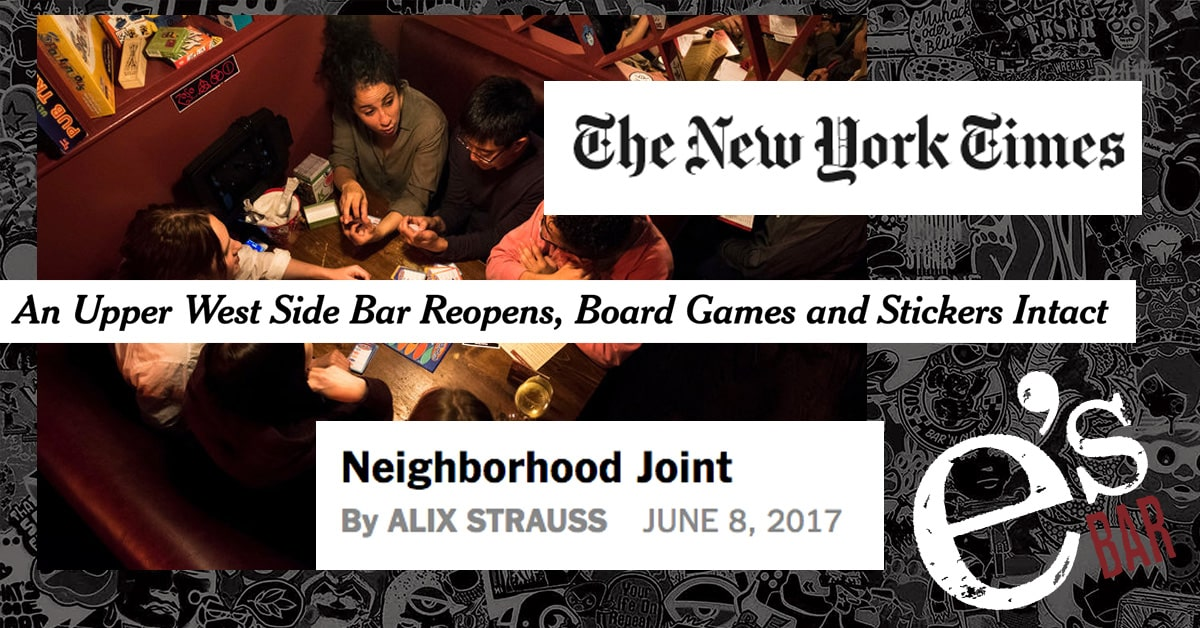 Ny Times press about the reopening of e's BAR
