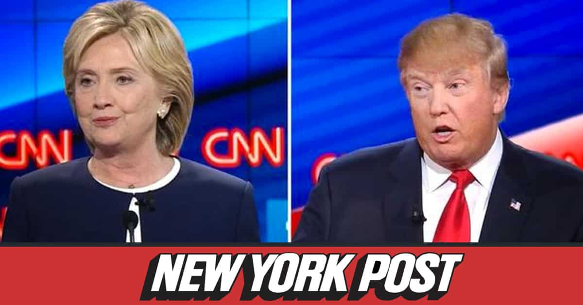 Secretary Hillary Clinton and Trump debate photo with New York Post logo