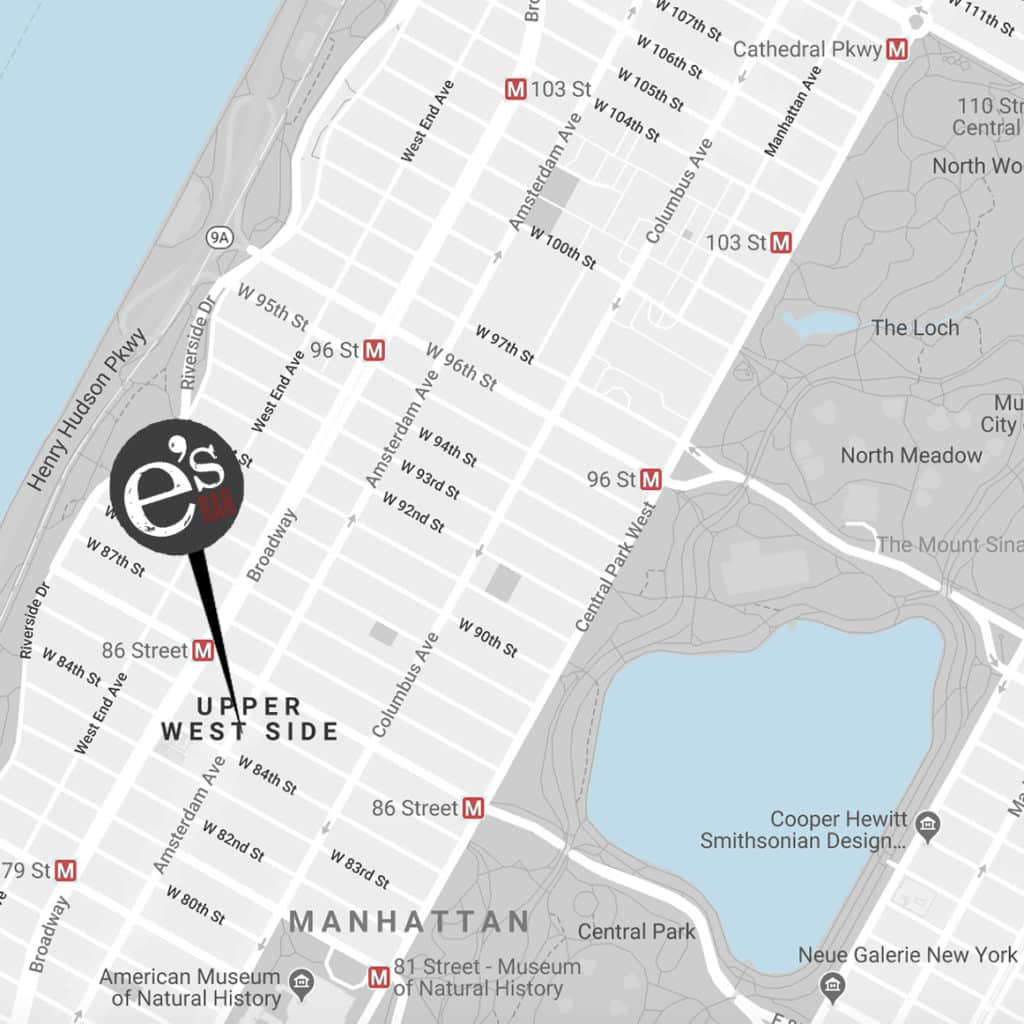Map of NYC Upper West Side and e's BAR